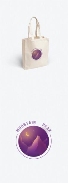 包装帆布袋简约自愈系紫色山峰插画