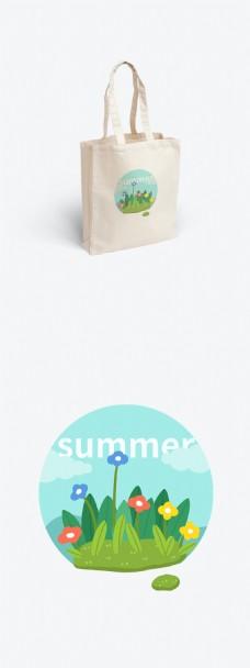 夏季花丛插画绘画帆布袋设计元素