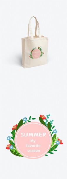 夏天夏季植物花朵花环设计元素帆布袋