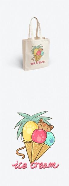 帆布袋包装夏日系列冰激凌和猫咪可爱卡通