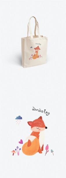 原创手绘简约狐狸动物帆布袋设计