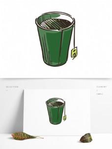 矢量手绘绿茶杯元素