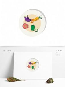 矢量手绘一盘蔬菜