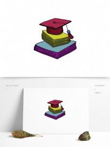 手绘矢量学士帽元素