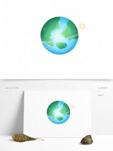 小清新地球插画元素