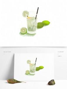 清新柠檬饮品装饰元素