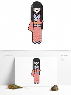 MBE可爱穿着和服的小女孩