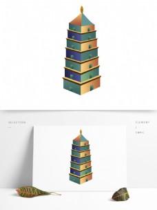 大雁塔插画元素设计