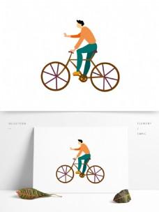 卡通扁平化骑自行车的小男生