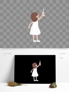 白裙女孩图案元素