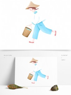 小清新卡通提着一桶水的女孩