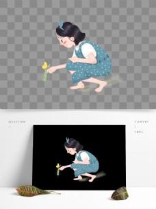 可爱卡通女孩图案元素