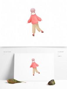 清新可爱穿着粉色卫衣的少女