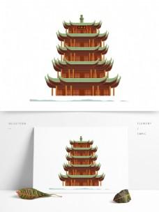 手绘黄鹤楼插画元素设计