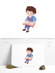 卡通小清新看书的男孩