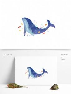 手绘鲸鱼和小鱼插画元素