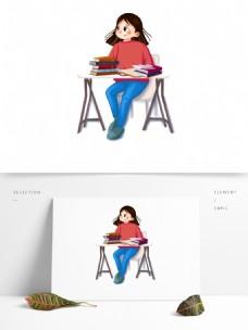手绘小清新在课桌前读书的女孩
