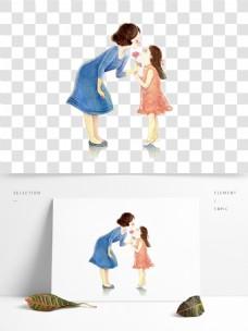 手绘有爱母女人物元素