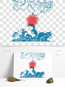 浪花传统古典手绘蓝色日系底纹图案端午元素