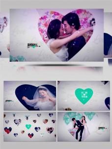 简约爱心图片相册婚礼婚庆AE模板
