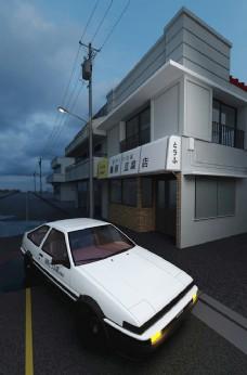 AE86街景卡通材质白模背景1