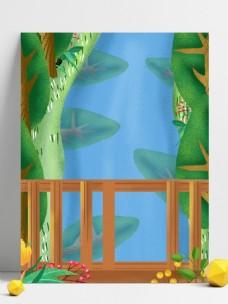 手绘栏栅外的绿色植物背景素材