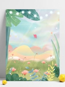 夏季粉色花草背景设计