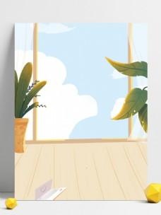 简约家居阳台盆栽背景设计