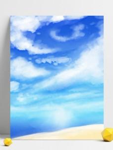 原创手绘夏季夏天天空云彩风景背景