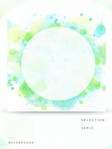 原创绿色手绘水彩墨点喷墨圆形背景