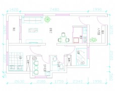 两室两厅家装户型图