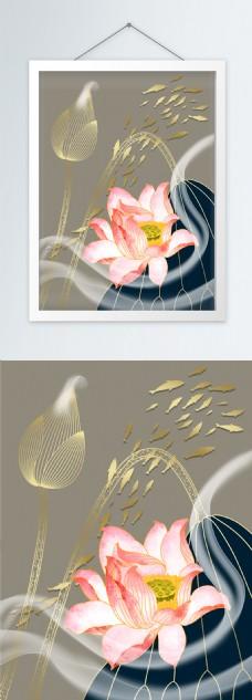 新中式茶禅书房客厅禅意荷花装饰画
