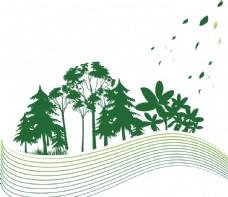 绿色飘零叶子树木剪影素材