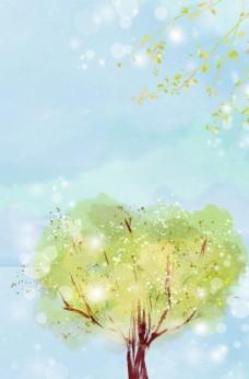 唯美手绘水彩树