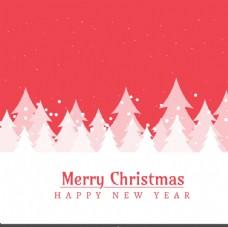 红雪域景观和树木圣诞贺卡