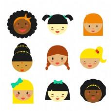 多种族的女孩