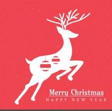 红色圣诞贺卡与鹿剪影