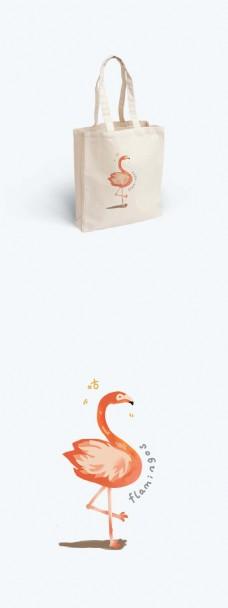 简约小清新手绘卡通火烈鸟帆布袋包装插画