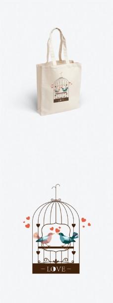简约小鸟的爱情帆布袋包装设计