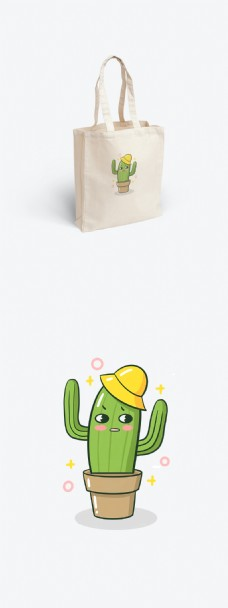 可爱卡通仙人掌帆布袋装饰插画