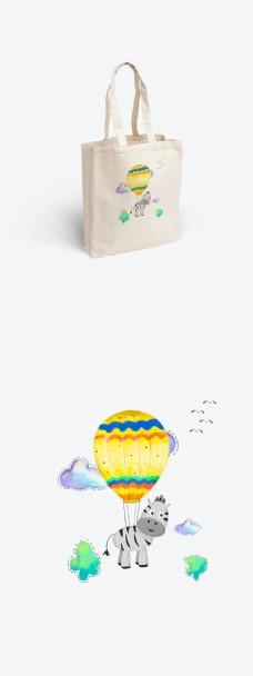 帆布袋之简约小清新手绘水彩风格之热气球