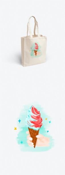 帆布袋之简约小清新手绘水彩风格之冰淇淋