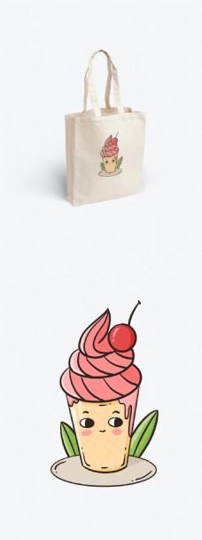 夏天夏季冰淇淋插画绘画帆布袋图案