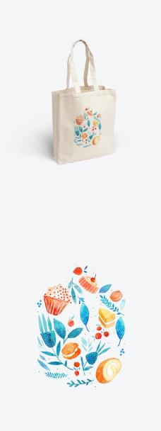 小清新美食帆布袋包装设计