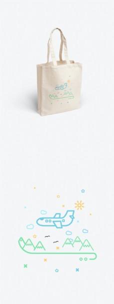 简约线性小插画帆布袋包装设计