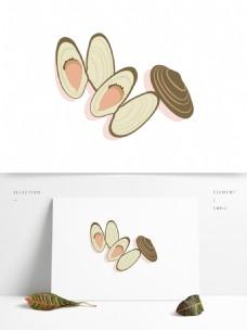 手绘卡通蛤蜊矢量