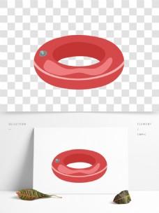 红色圆形游泳圈装饰