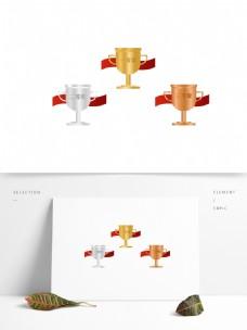 手绘金银铜奖杯矢量图