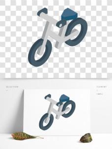 简约立体自行车插画