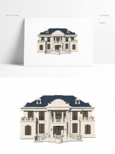 经典法式两层半别墅模型